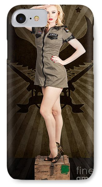 Attractive Blond Pin-up Army Girl. Military Salute IPhone Case by Jorgo Photography - Wall Art Gallery