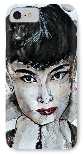Audrey Hepburn - Abstract Art IPhone Case by Ismeta Gruenwald