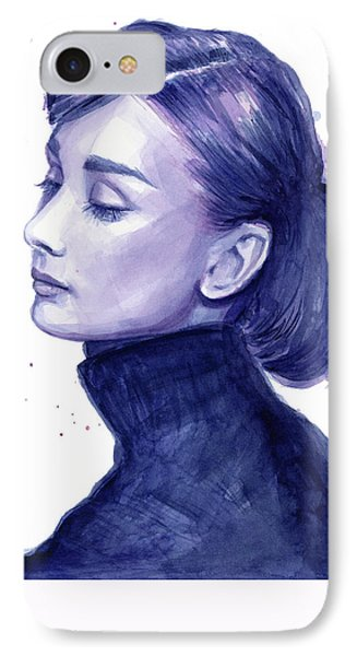 Audrey Hepburn Portrait IPhone 7 Case by Olga Shvartsur