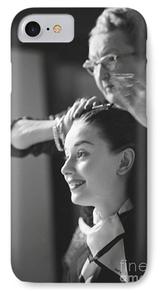 Audrey Hepburn Preparing For A Scene In Roman Holiday IPhone 7 Case by The Harrington Collection