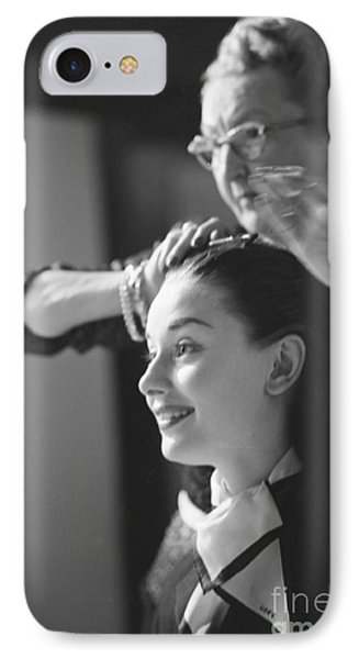 Audrey Hepburn Preparing For A Scene In Roman Holiday IPhone Case