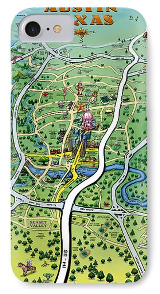 Austin Texas Cartoon Map IPhone Case by Kevin Middleton