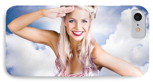 Australian Navy Girl Saluting Australia Day IPhone Case by Jorgo Photography - Wall Art Gallery