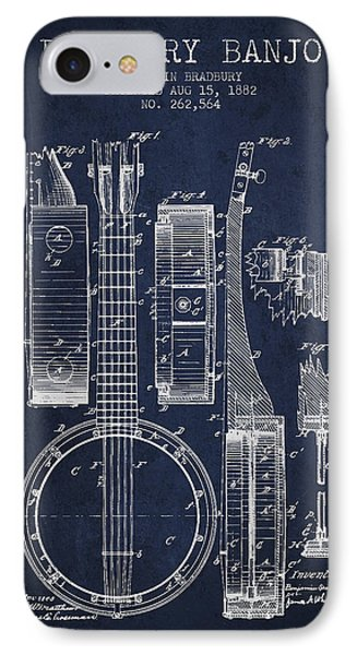 Folk Art iPhone 7 Case - Banjo Patent Drawing From 1882 - Blue by Aged Pixel