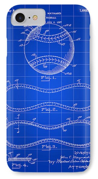 Baseball Patent 1927 - Blue IPhone Case by Stephen Younts