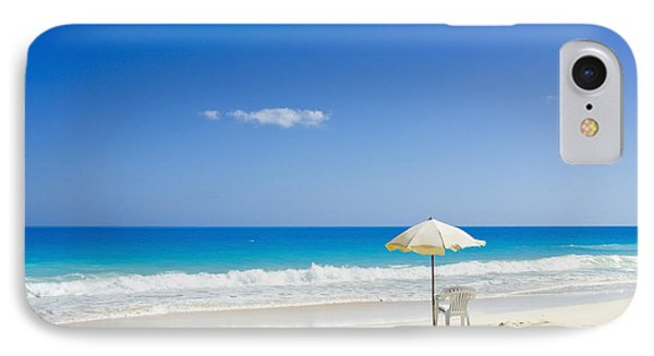 Beach Chair And Umbrella On Idyllic Tropical Sand IPhone Case by Mohamed Elkhamisy