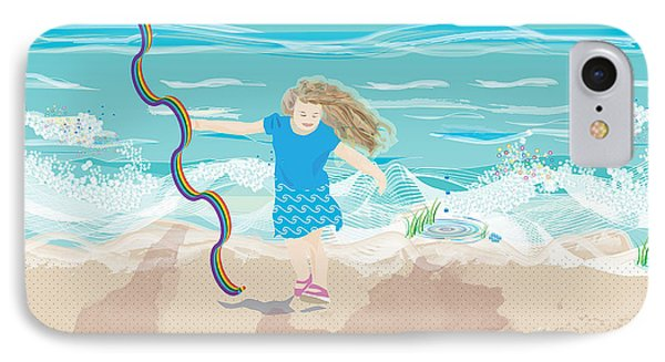 IPhone Case featuring the digital art Beach Rainbow Girl by Kim Prowse