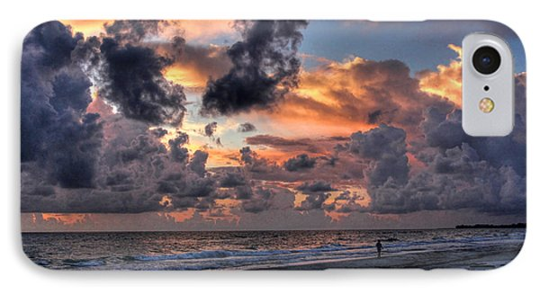 Beach Walk - Florida Seascape IPhone Case by HH Photography of Florida