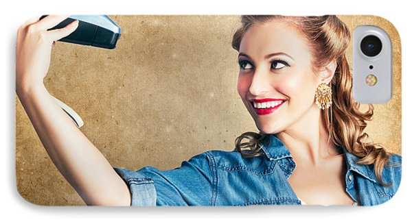 Beautiful Retro Woman Taking Selfie With Camera IPhone Case by Jorgo Photography - Wall Art Gallery