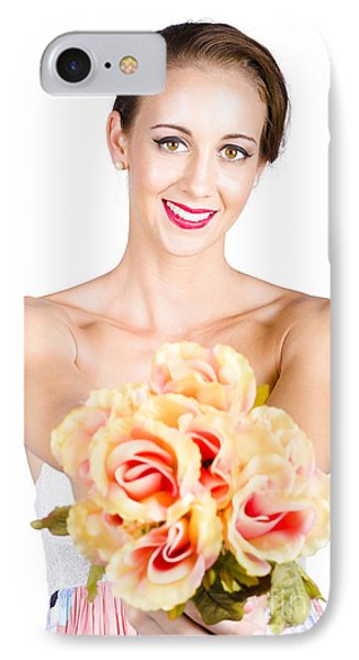 Beautiful Woman Holding Florist Flowers IPhone Case