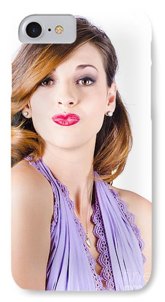 Beautiful Woman Puckering Lips For Kiss IPhone Case by Jorgo Photography - Wall Art Gallery