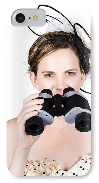 Beautiful Young Woman With Binoculars IPhone Case by Jorgo Photography - Wall Art Gallery