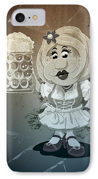 Beer Stein Dirndl Oktoberfest Cartoon Woman Grunge Monochrome IPhone Case