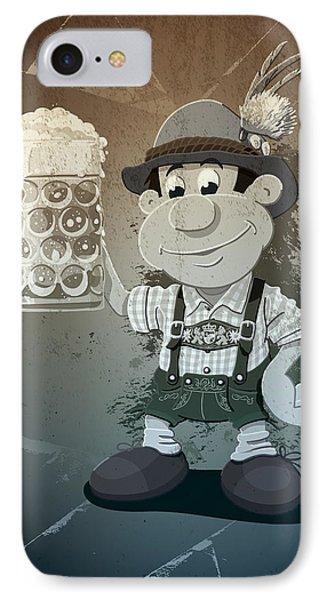 Beer Stein Lederhosen Oktoberfest Cartoon Man Grunge Monochrome IPhone Case by Frank Ramspott