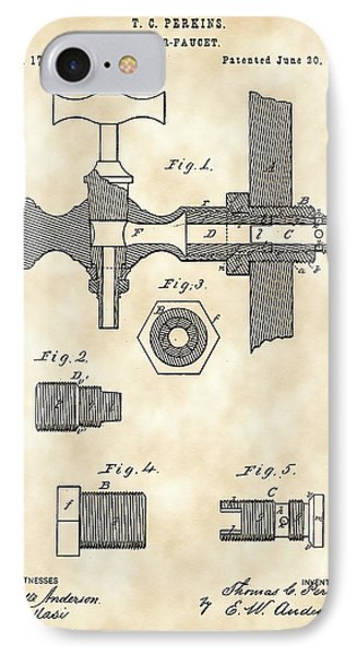 Beer Tap Patent 1876 - Vintage IPhone Case by Stephen Younts
