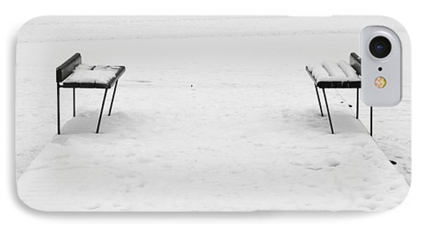 Benches On A Dock IPhone Case by Jouko Lehto
