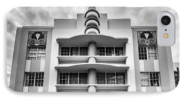 Berkeley Shores Hotel  2 - South Beach - Miami - Florida - Black And White IPhone Case by Ian Monk