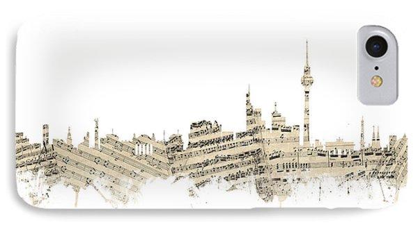 Berlin Germany Skyline Sheet Music Cityscape IPhone Case by Michael Tompsett