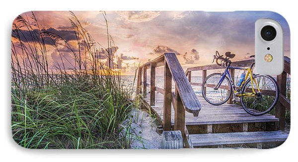 Bicycle At The Beach IPhone Case by Debra and Dave Vanderlaan