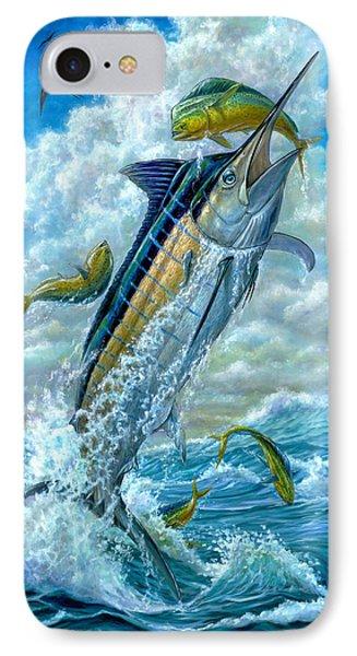 Big Jump Blue Marlin With Mahi Mahi Phone Case by Terry  Fox