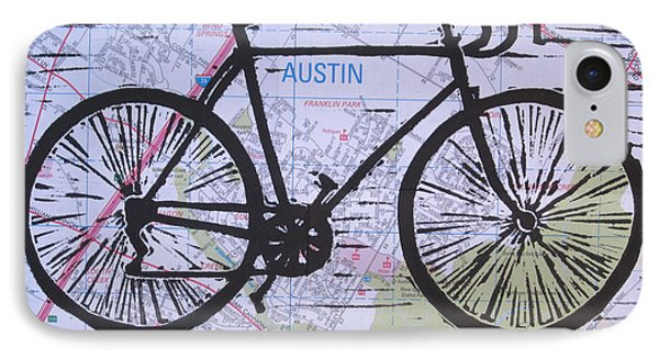 IPhone Case featuring the drawing Bike 8 On Map by William Cauthern