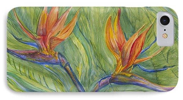 IPhone Case featuring the painting Birds Of Paradise by Cathy Long
