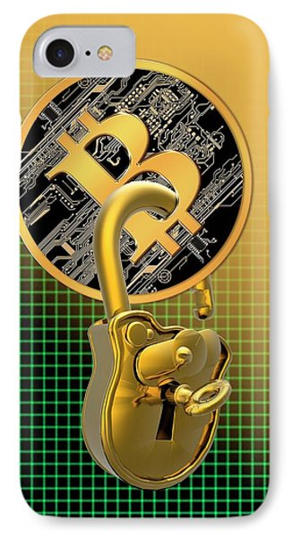 Bitcoin And Padlock IPhone Case by Victor Habbick Visions