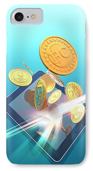 Bitcoins And Digital Tablet IPhone Case by Victor Habbick Visions