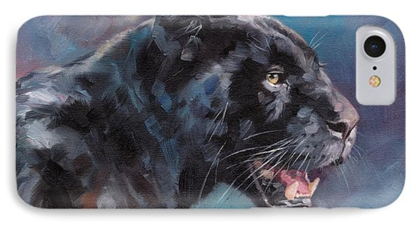 Black Panther IPhone Case by David Stribbling