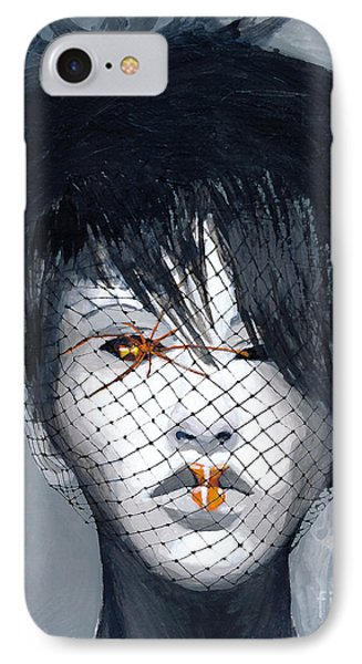 IPhone Case featuring the painting Black Widow by Denise Deiloh