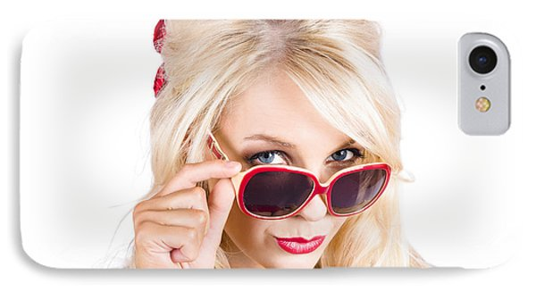 Blond Woman In Sunglasses IPhone Case by Jorgo Photography - Wall Art Gallery