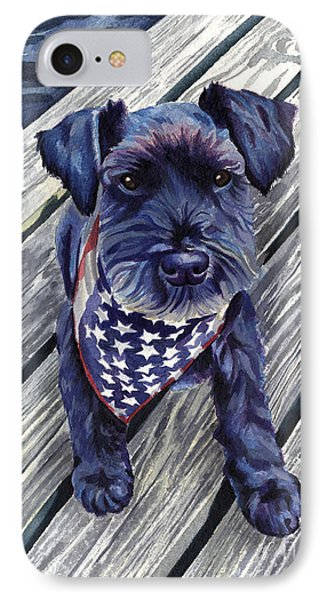 Blue Black Dog On Pier IPhone Case by Robyn Saunders