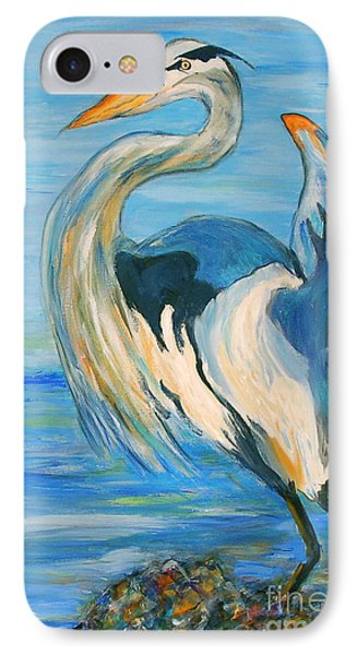 IPhone Case featuring the painting Blue Heron II by Ellen Anthony