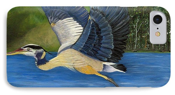 IPhone Case featuring the painting Blue Heron In Flight by Brenda Brown