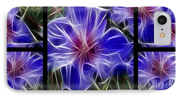Blue Hibiscus Fractal IPhone Case by Peter Piatt