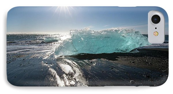 Blue Iceberg On Sandy Beach IPhone Case by Dr Juerg Alean