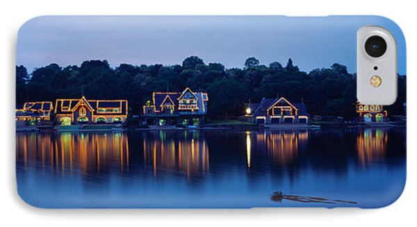 Boathouse Row Lit Up At Dusk IPhone Case by Panoramic Images