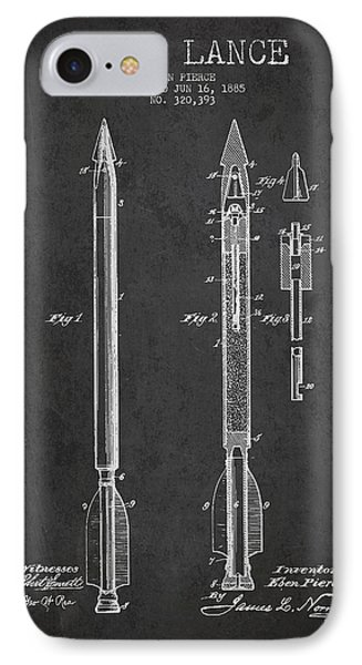 Bomb Lance Patent Drawing From 1885 Phone Case by Aged Pixel