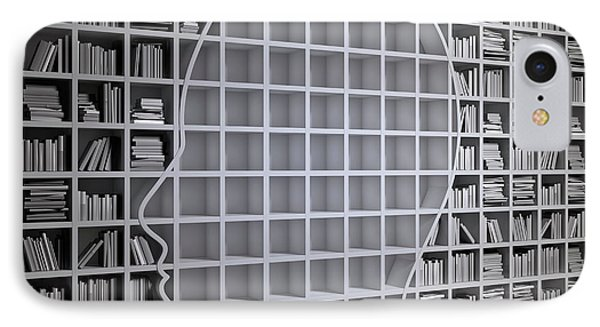 Bookshelf With The Shape Of Human Head IPhone Case