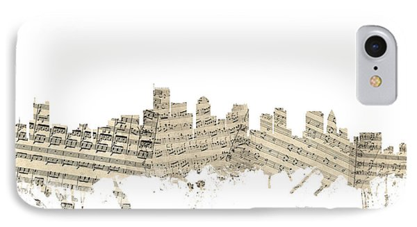 Boston Massachusetts Skyline Sheet Music Cityscape IPhone Case by Michael Tompsett