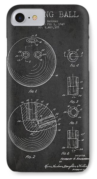 Bowling Ball Patent Drawing From 1949 IPhone Case by Aged Pixel