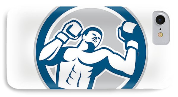 Boxer Boxing Boxing Circle Retro Phone Case by Aloysius Patrimonio