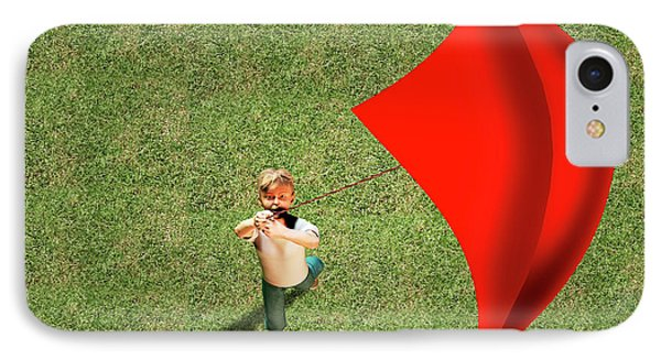 Boy Flying A Kite IPhone Case by Carol & Mike Werner