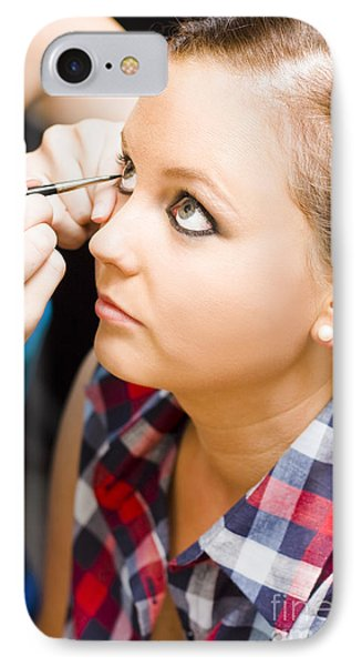 Bride Getting Eye Liner Makeup Applied IPhone Case by Jorgo Photography - Wall Art Gallery