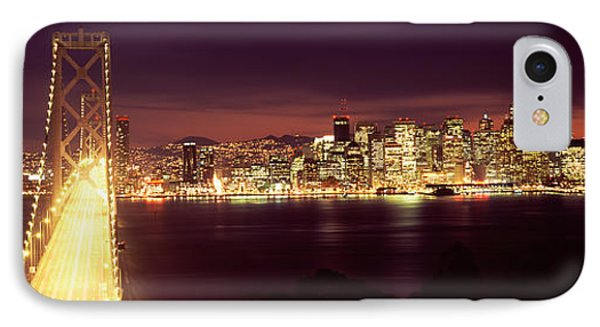 Bridge Lit Up At Night, Bay Bridge, San IPhone Case by Panoramic Images