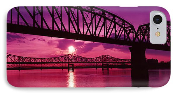 Bridges Over A River At Dusk IPhone Case by Panoramic Images