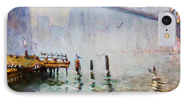 Seagull iPhone 7 Case - Brooklyn Bridge In A Foggy Morning   by Ylli Haruni
