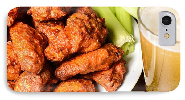 Buffalo Wings With Celery Sticks And Beer IPhone Case