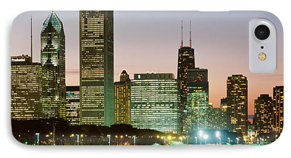 Buildings Lit Up At Night, Chicago IPhone Case by Panoramic Images