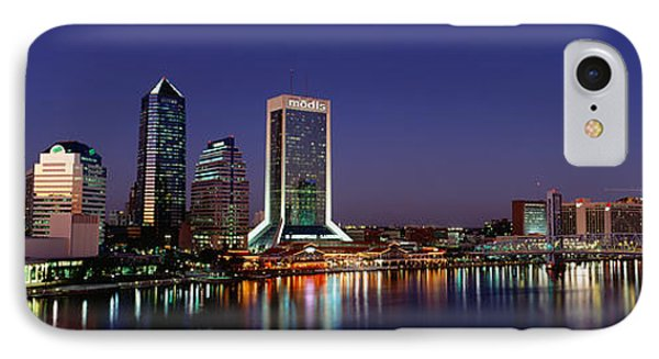 Buildings Lit Up At Night IPhone Case by Panoramic Images